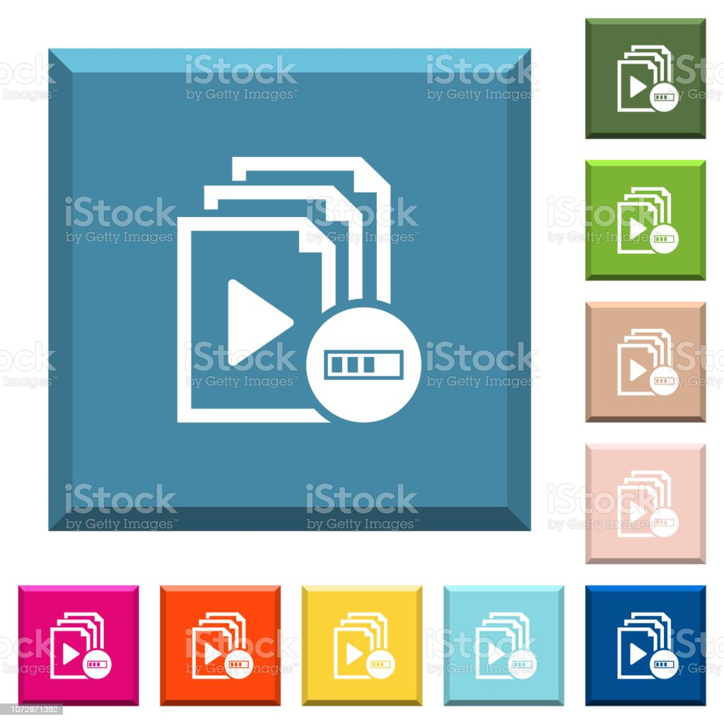 Processing playlist white icons on edged square buttons vector art illustration