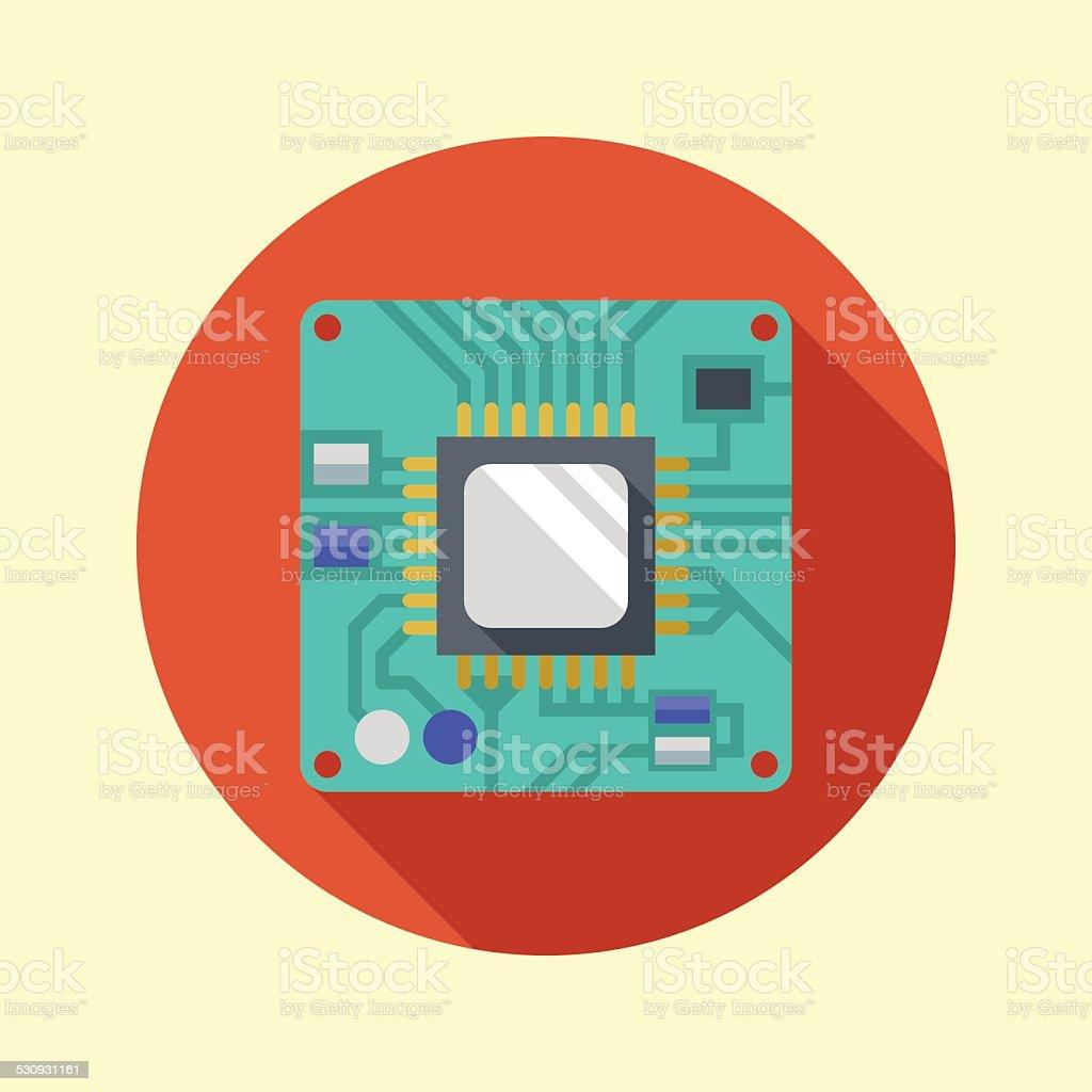 Processor icon. CPU. Long shadow flat design. Vector illustration. vector art illustration