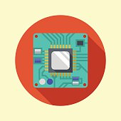 Processor icon. CPU. Long shadow flat design. Vector illustration.