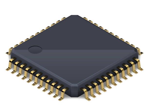 Prozessor oder elektronischer Chip auf weißem Hintergrund mit weichem realistischem Schatten. Isometrischer Vektor – Vektorgrafik