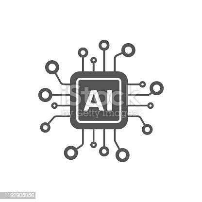 istock AI Processor vector icon for websites and mobile minimalistic flat design. Mini AI CPU icon in flat style. Mobile AI CPU. EPS 10 1192905956
