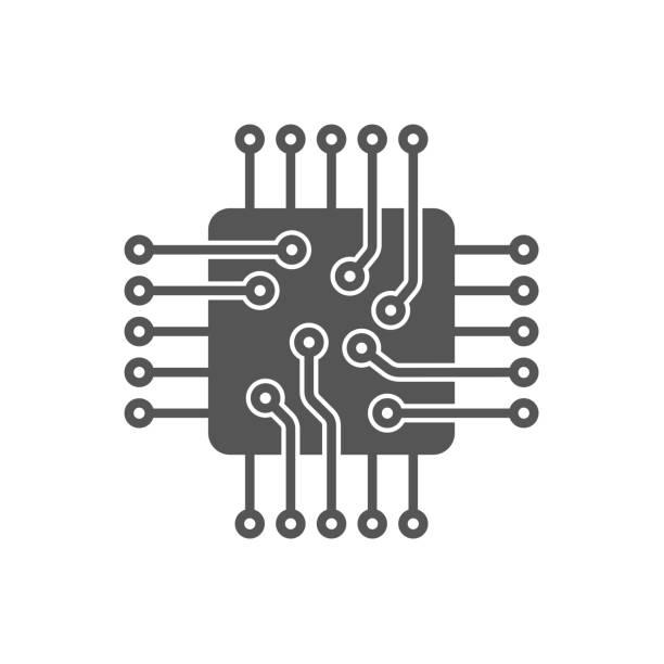 Processor Vector Icon. Microchip icon. CPU icon Processor Vector Icon. Microchip icon. CPU icon EPS 10 computer chip stock illustrations