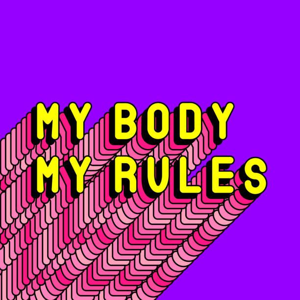 """illustrations, cliparts, dessins animés et icônes de affiche de slogan pro-choice """"mon corps mes règles"""". concept d'avortement gratuit et sûr. carte de citation féministe, illustration de texte vectoriel avec ombre longue rose. - planning familial"""