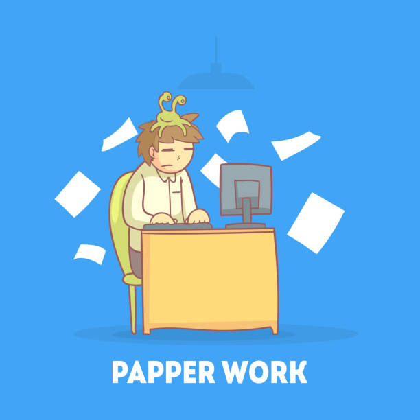 illustrazioni stock, clip art, cartoni animati e icone di tendenza di procrastinating office worker sitting at his desk with papers flying around him, procrastination and laziness vector illustration - divano procrastinazione