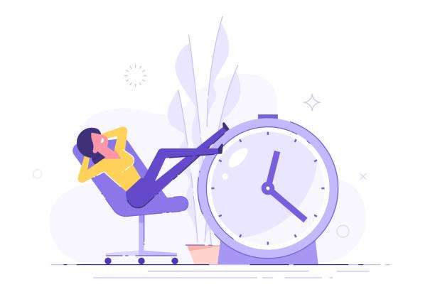 ilustrações, clipart, desenhos animados e ícones de mulher procrastinating que senta-se no escritório com seus pés acima em um relógio de alarme. procrastinação e conceito do preguiça. ilustração do vetor. - esperar