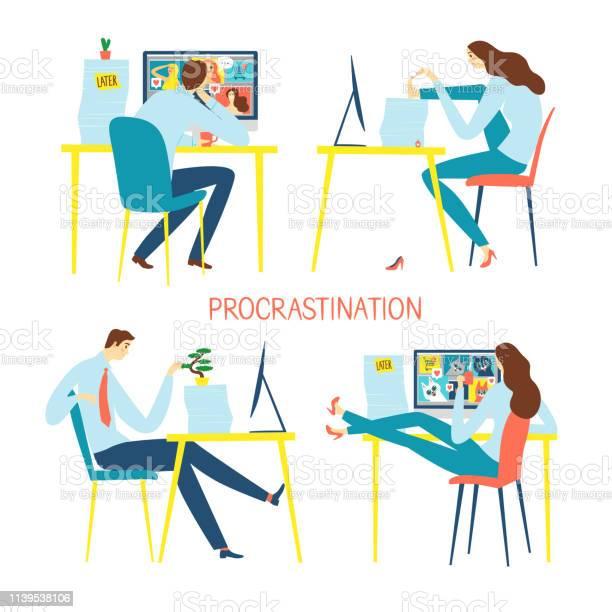 Procrastination caroon illustration set with office workers vector id1139538106?b=1&k=6&m=1139538106&s=612x612&h=ql0uwlqasmor0ojnjfdovzubk7cgp6tltnzaxdmhmki=