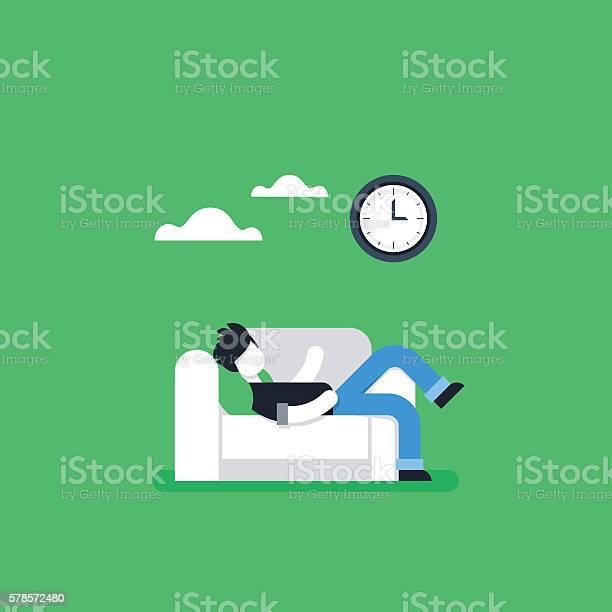 Procrastination concept lazy man on sofa couch potato tired person vector id578572480?b=1&k=6&m=578572480&s=612x612&h=7keueo uzcvtn6cfclzxkq2dkidcxtqphl 3 lfbcge=