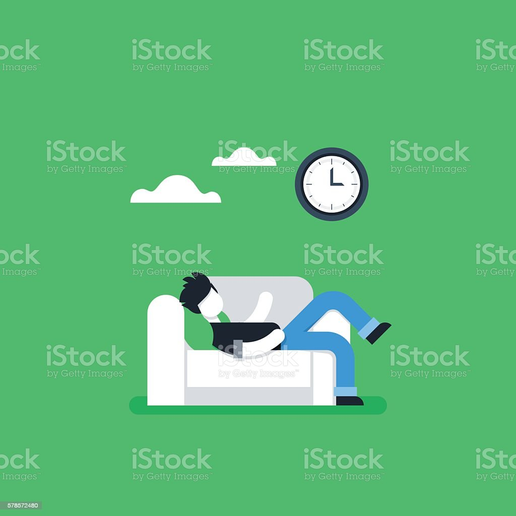 Procrastination concept, lazy man on sofa, couch potato, tired person vector art illustration