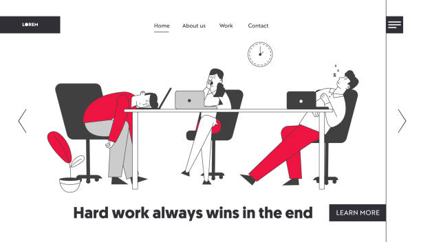 Procrastination, Laziness Website Landing Page. Boring, Procrastinating and Lazy Businesspeople Employees Sleeping and Yawning at Workplace Web Page Banner. Cartoon Flat Vector Illustration, Line Art Procrastination, Laziness Website Landing Page. Boring, Procrastinating and Lazy Businesspeople Employees Sleeping and Yawning at Workplace Web Page Banner. Cartoon Flat Vector Illustration, Line Art man sleeping stock illustrations
