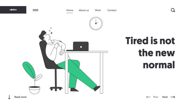 Procrastination, Overwork Burnout Symptom Website Landing Page. Lazy, Boring or Tired Businessman with Low Life Energy Sleep at Working Place Web Page Banner. Cartoon Flat Vector Illustration Line Art Procrastination, Overwork Burnout Symptom Website Landing Page. Lazy, Boring or Tired Businessman with Low Life Energy Sleep at Working Place Web Page Banner. Cartoon Flat Vector Illustration Line Art man sleeping stock illustrations