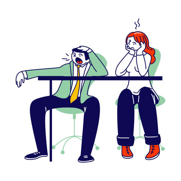illustrazioni stock, clip art, cartoni animati e icone di tendenza di procrastination, overwork burnout symptoms concept. lazy, boring or tired business man and woman characters with low energy yawning at working place or bored meeting. linear people vector illustration - divano procrastinazione