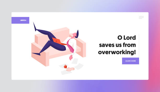 illustrazioni stock, clip art, cartoni animati e icone di tendenza di procrastination, overwork burnout symptoms landing page template. lazy, boring or tired businessman character with low energy power sleeping at working place on couch. cartoon vector illustration - divano procrastinazione