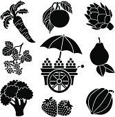 Vector icons of fruit and vegetables: carrot, plum, artichoke, raspberries, cart, pear, broccoli, strawberries, acorn squash.