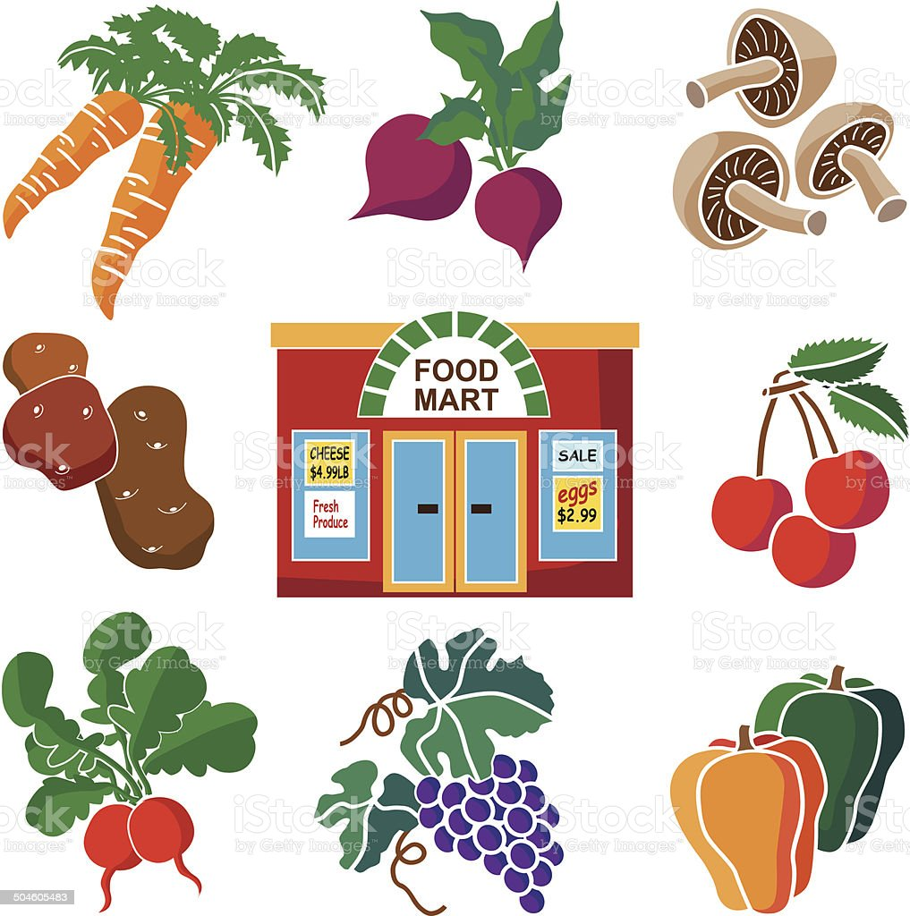 produce department at the grocery store icon set vector art illustration