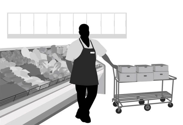 Produce Manager A produce manager is standing next to a cart full of boxes.  He is in the produce section of a grocery store.  This vector silhouette  illustration is black and white with grey tones for added details. grocery aisle stock illustrations