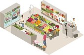 Detailed produce shop (or green grocer) illustration includes shopkeeper, three customers, and dozens of fruits, vegetables, and related groceries. The street-style business is a colorful representation of small business and entrepreneurship. The scene could also represent healthy (and organic) eating. Detailed vector artwork is illustrated in isometric view.