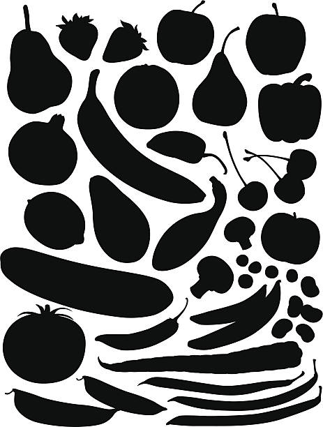 Produce Silhouettes A collection of fruit and veggie silhouettes. avocado silhouettes stock illustrations