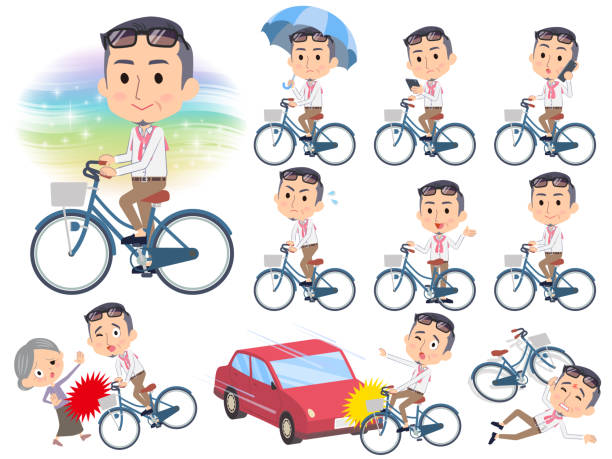 producer middle men_city bicycle - old man on bike stock illustrations, clip art, cartoons, & icons