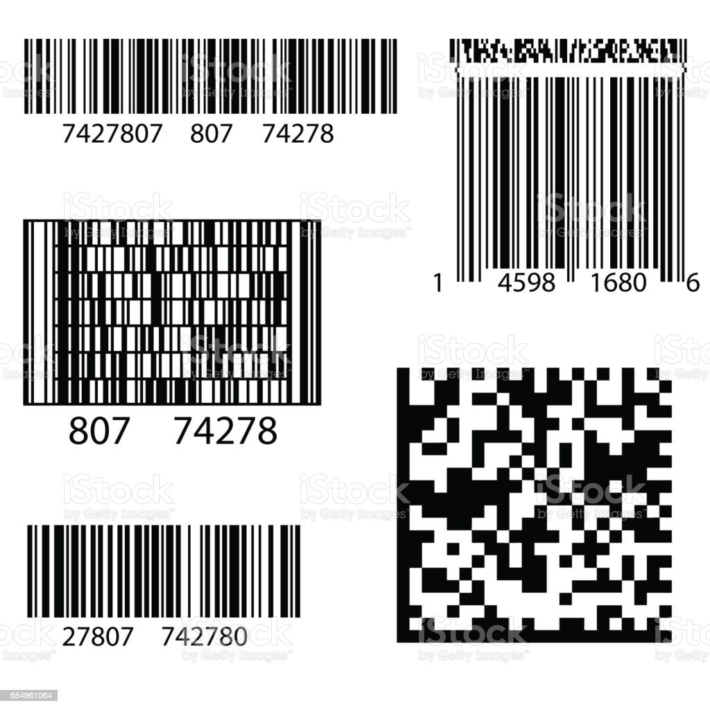 Product Barcode 2d Square Label vector art illustration