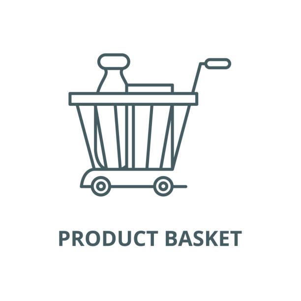 ürün sepeti vektör hattı simgesi, doğrusal kavram, anahat işareti, sembol - sale stock illustrations