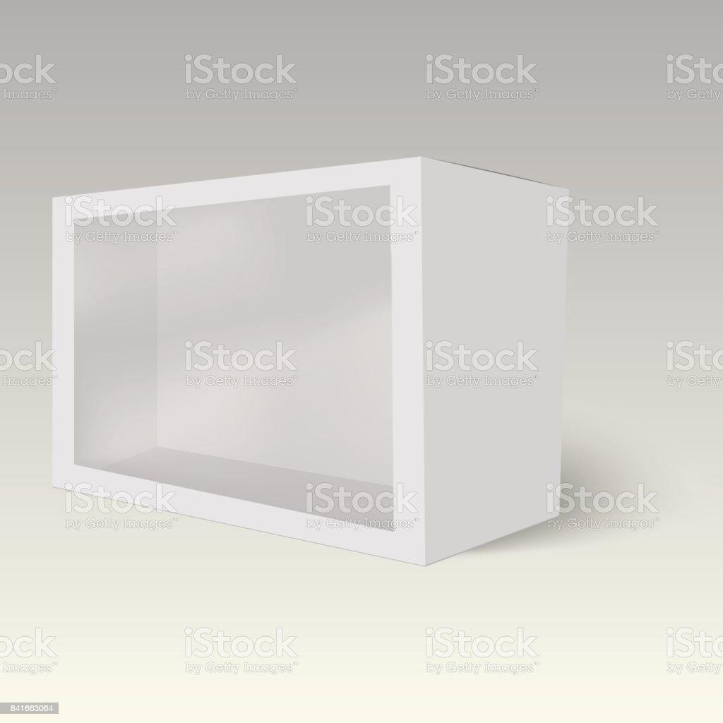Producto Cartón Plástico Paquete Caja Con Ventana Vector Simulado ...
