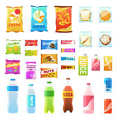 Product for vending. Tasty snacks sandwich biscuit candy chocolate drinks juice beverages pack retail, set flat vector food in plastic container and box icons