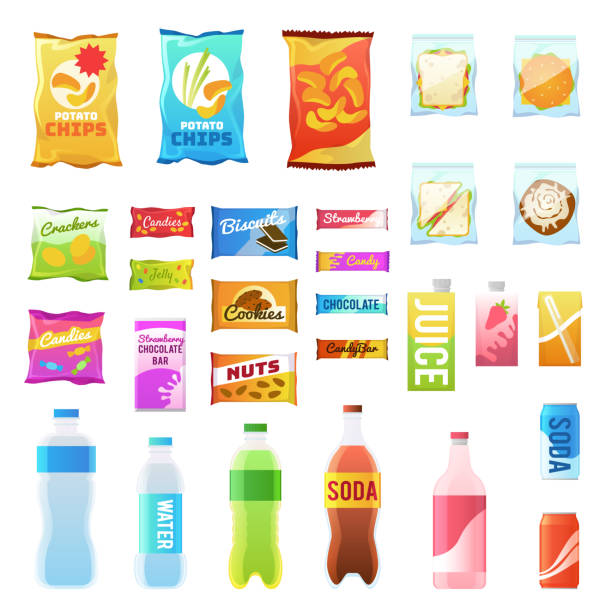 Product for vending. Tasty snacks sandwich biscuit candy chocolate drinks juice beverages pack retail, set flat vector icons Product for vending. Tasty snacks sandwich biscuit candy chocolate drinks juice beverages pack retail, set flat vector food in plastic container and box icons computer chip stock illustrations