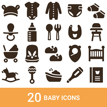 Product icons, baby, silhouette, 20 sets