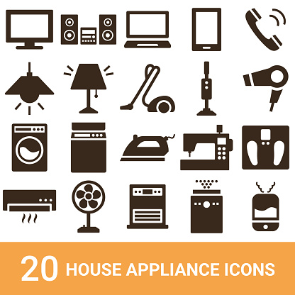 Product icons, household appliances, silhouettes, 20 sets