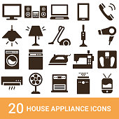 istock Product icons, household appliances, silhouettes, 20 sets 1170655995