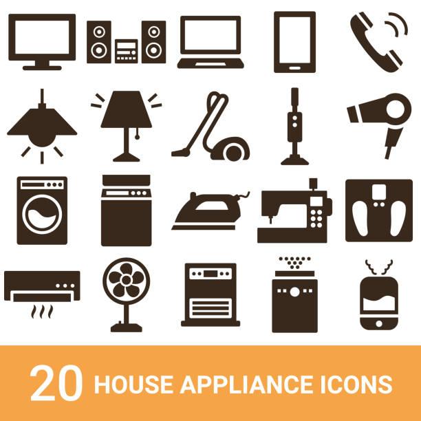 produktsymbole, haushaltsgeräte, silhouetten, 20 sets - haushaltsmaschine stock-grafiken, -clipart, -cartoons und -symbole