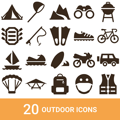 Product icons, outdoor, silhouettes, 20 sets