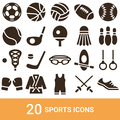 Product icons, sports, silhouettes, 20 sets
