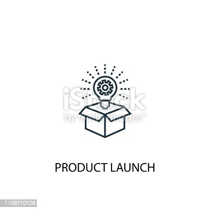 istock product launch concept line icon. Simple element illustration. product launch concept outline symbol design from Crowdfunding set. Can be used for web and mobile UI/UX 1159210128