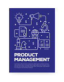 Product Management Concept Line Style Cover Design for Annual Report, Flyer, Brochure.