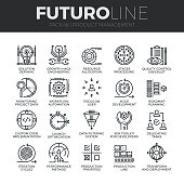 Modern thin line icons set of production management, project quality control. Premium quality outline symbol collection. Simple mono linear pictogram pack. Stroke vector  concept for web graphics.