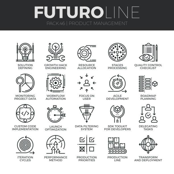 illustrations, cliparts, dessins animés et icônes de produit gestion ligne futuro icons set - chrono sport