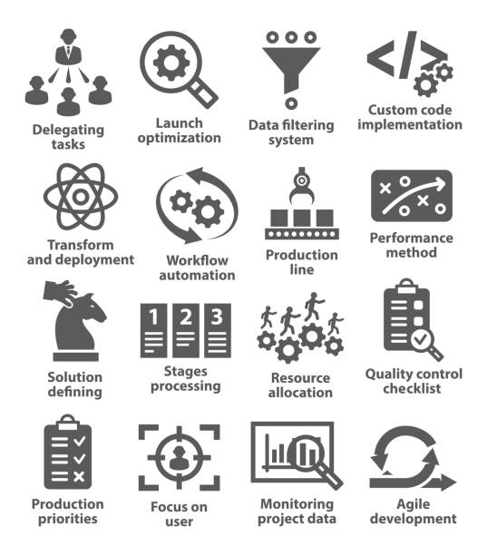 Product management icons vector art illustration