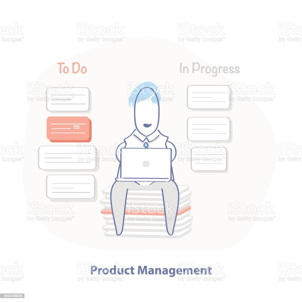 Product management illustration concept, planning, developing of a product. Cartoon manager sitting and planning product development vector art illustration