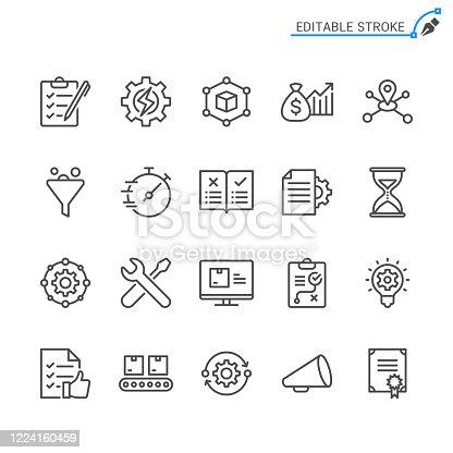 istock Product management line icons. Editable stroke. Pixel perfect. 1224160459