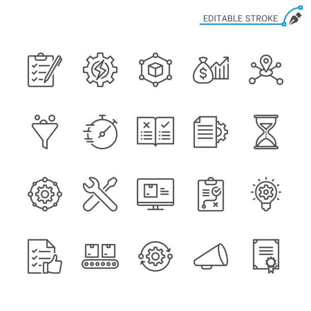 ikony linii zarządzania produktem. edytowalne obrys. piksel idealny. - produkować stock illustrations