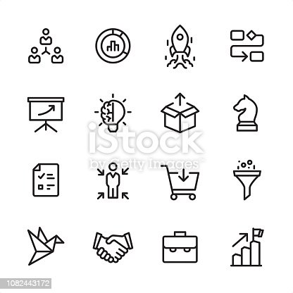 16 line black on white icons / Product Management Set #71 Pixel Perfect Principle - all the icons are designed in 48x48pх square, outline stroke 2px.  First row of outline icons contains:  Delegation Tasks, Diagram, Launch Rocket (Start Up), Organization Chart;  Second row contains:  Presentation, Creativity, Product Release, Business Strategy;  Third row contains:  Checklist, Focus on user, Buying, Separating;   Fourth row contains:  Prototype, Handshake, Briefcase, Achievement.  Complete Inlinico collection - https://www.istockphoto.com/collaboration/boards/2MS6Qck-_UuiVTh288h3fQ