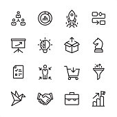 16 line black on white icons / Product Management Set #71\nPixel Perfect Principle - all the icons are designed in 48x48pх square, outline stroke 2px.\n\nFirst row of outline icons contains: \nDelegation Tasks, Diagram, Launch Rocket (Start Up), Organization Chart;\n\nSecond row contains: \nPresentation, Creativity, Product Release, Business Strategy;\n\nThird row contains: \nChecklist, Focus on user, Buying, Separating; \n\nFourth row contains: \nPrototype, Handshake, Briefcase, Achievement.\n\nComplete Inlinico collection - https://www.istockphoto.com/collaboration/boards/2MS6Qck-_UuiVTh288h3fQ