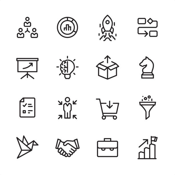 Product Management - outline icon set 16 line black on white icons / Product Management Set #71 Pixel Perfect Principle - all the icons are designed in 48x48pх square, outline stroke 2px.  First row of outline icons contains:  Delegation Tasks, Diagram, Launch Rocket (Start Up), Organization Chart;  Second row contains:  Presentation, Creativity, Product Release, Business Strategy;  Third row contains:  Checklist, Focus on user, Buying, Separating;   Fourth row contains:  Prototype, Handshake, Briefcase, Achievement.  Complete Inlinico collection - https://www.istockphoto.com/collaboration/boards/2MS6Qck-_UuiVTh288h3fQ chess knight silhouette stock illustrations