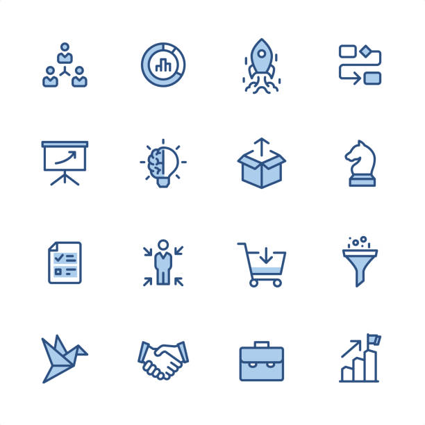 Product Management - Pixel Perfect blue outline icons 16 indigo and blue Product Management icon set #61 Pixel perfect icon 48x48 pх, outline stroke 2 px.  First row of  icons contains: Delegation Tasks, Diagram, Launch Rocket (Start Up), Organization Chart;  Second row contains:  Presentation, Creativity, Product Release, Business Strategy;  Third row contains:  Checklist, Focus on user, Buying, Separating;   Fourth row contains:  Prototype, Handshake, Briefcase, Achievement.  Complete Indigico collection - https://www.istockphoto.com/collaboration/boards/t5bVQfKvf0a-h6WHcFLuIg chess knight silhouette stock illustrations