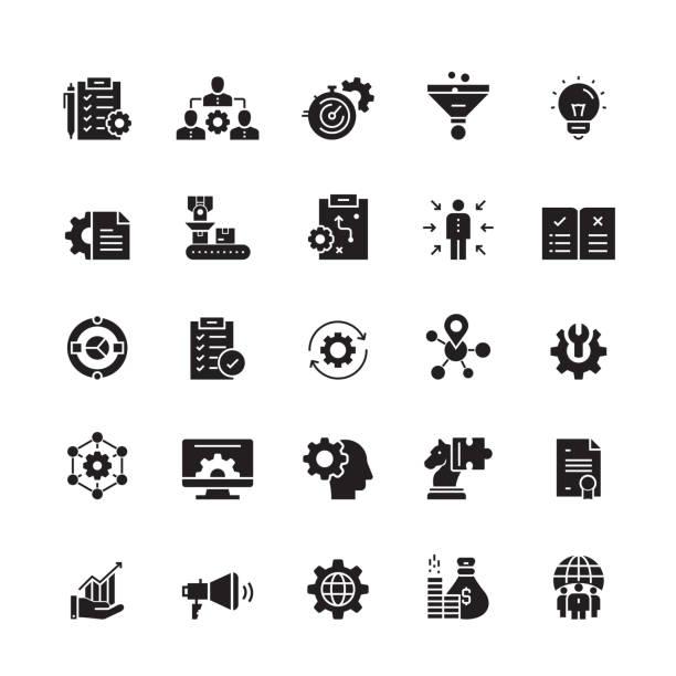 stockillustraties, clipart, cartoons en iconen met product management gerelateerde vector iconen - organisatie
