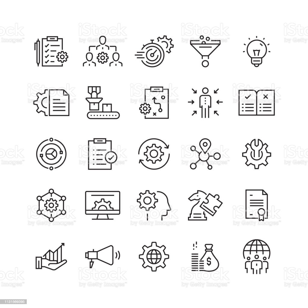 Product Management Related Vector Line Icons - Векторная графика GAFAM роялти-фри
