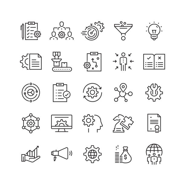 product management related vector line icons - konstrukcja budowlana stock illustrations
