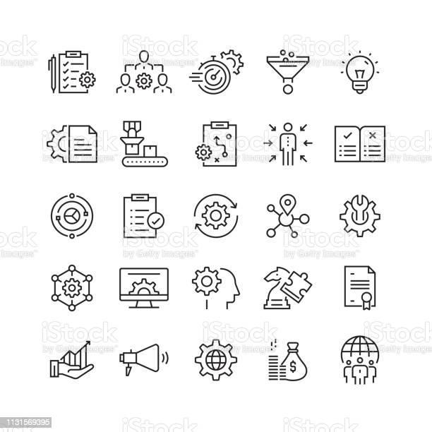 Product Management Related Vector Line Icons - Arte vetorial de stock e mais imagens de Analisar