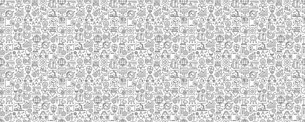 Product Management Seamless Pattern and Background with Line Icons Product Management Seamless Pattern and Background with Line Icons business stock illustrations